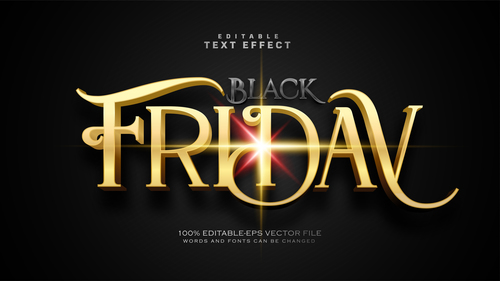 Black friday text effect in vector