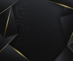 Black geometric golden dots abstract background vector