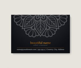 Black mandala business card pattern vector