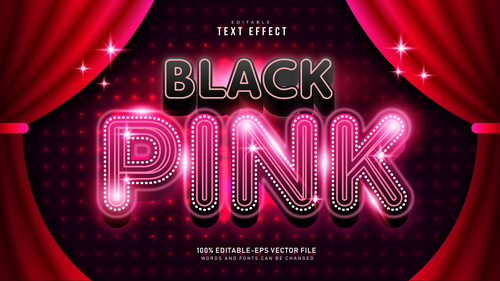 Black pink font text effect in vector