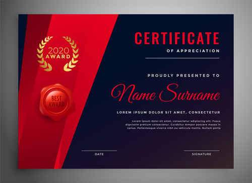 Black red certificate cover vector
