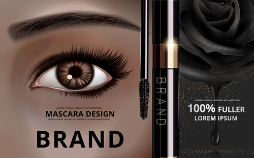 Black rose mascara advertisement vector