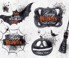 Black sketch halloween element card vector