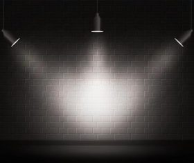 Black wall light effect vector