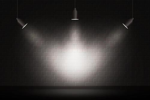 Black wall light effect vector