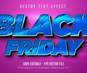 Blue Black Friday editable font effect text vector