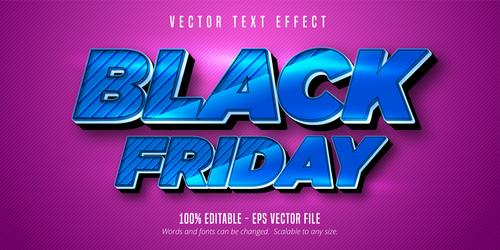 Blue Black Friday editable font effect text vector