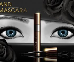 Blue eyes and mascara advertisement vector