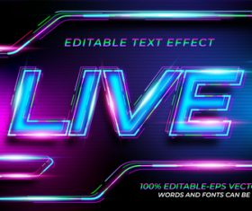 Blue pink font text effect in vector