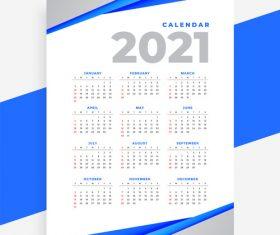 Blue slash background 2021 calendar vector