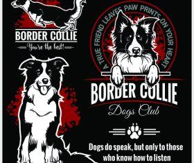 Border collie logo vector