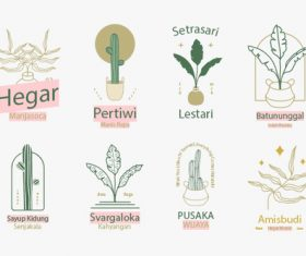 Botanical badges logo vector