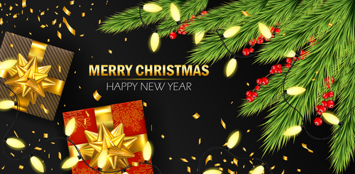 Branches and gift boxes Christmas Day card vector