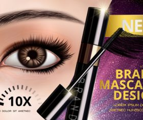 Brand mascara advertisement vector