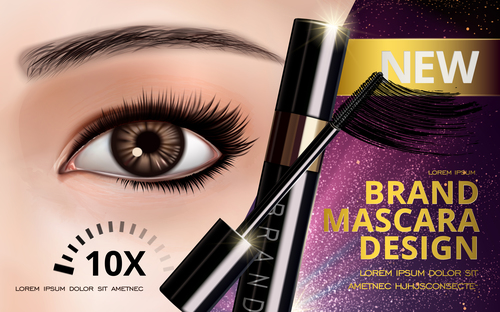 Brand mascara advertisement vector