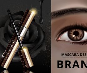 Bright eyes and mascara advertisement vector