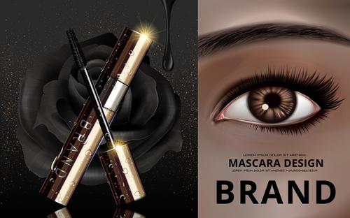 Bright eyes and mascara advertisement vector