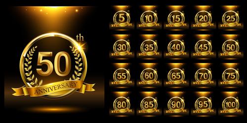 Bright golden celebration anniversary logo vector