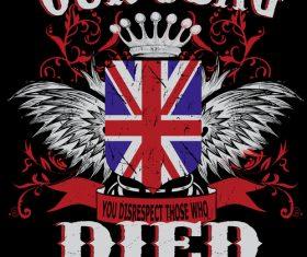 British flag t-shirt design vector