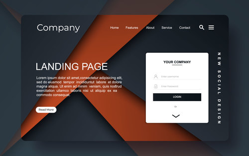 Brown and black background landing page template vector