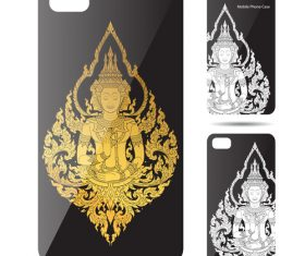 Buddha statue art pattern phone cases cover vector