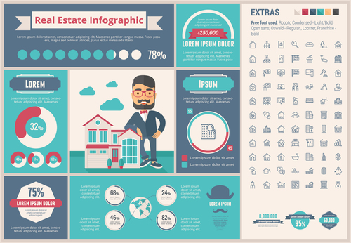 Building sales infographic vector