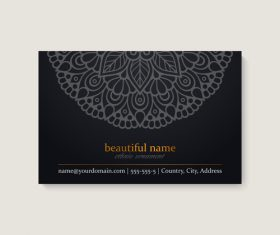 Business card template with ethnic mandala design vector