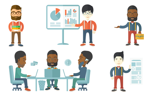 Business data analysis cartoon vector