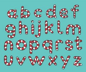 Candy cane christmas alphabet vector