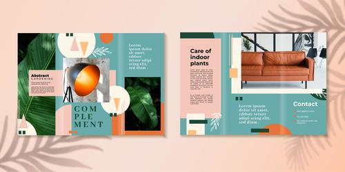 Care of indoor plants trifold brochure vector template