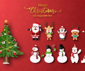 Cartoon element christmas card vector