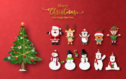 Cartoon element christmas card vector