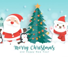 Cartoon merry christmas greeting card vector