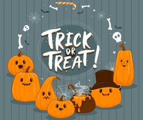 Cartoon pumpkin halloween illustration vector on gray wooden board background