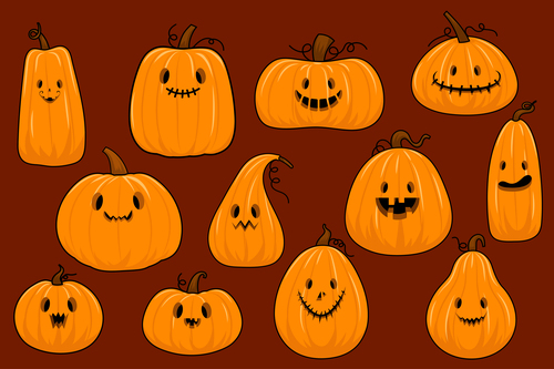 Cartoon pumpkins with different expressions vector