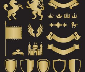 Castle animal silhouette heraldry vector