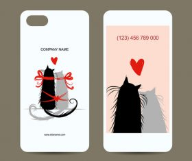 Cat couple mobile phone front and back cover vector