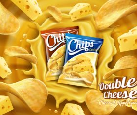 Cheese potato chips advertising vector