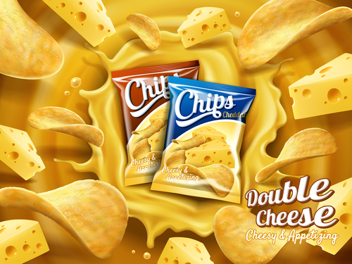 Cheese potato chips advertising vector