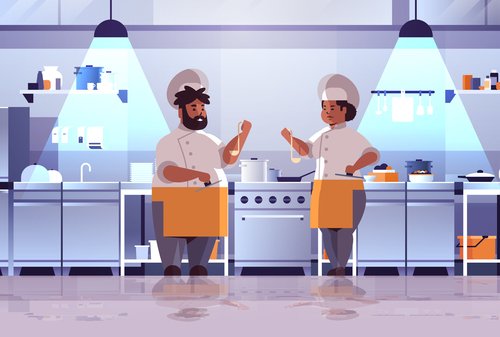 Chef tasting dishes vector