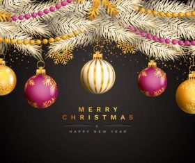 Christmas and New Year decoration card vector