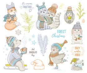 Christmas animal theme painting collection vector