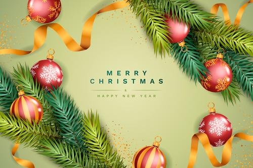 Christmas card with gold ribbon and colored balls vector