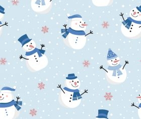 Christmas cute snowman seamless pattern vector