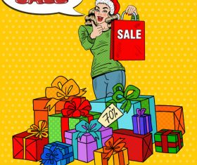 Christmas gift pop art vector