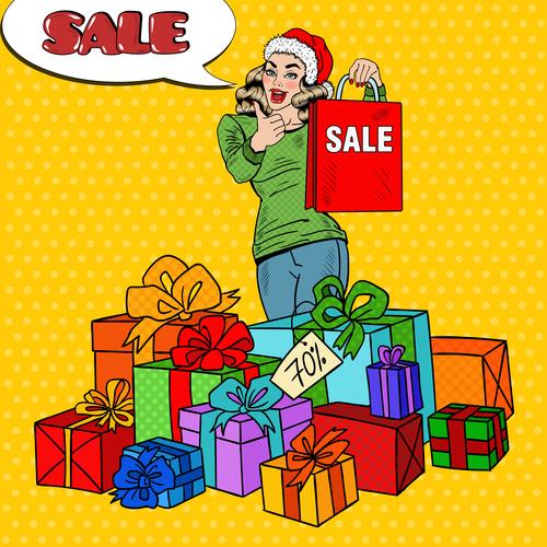 Christmas gift pop art vector