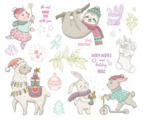 Christmas illustrations cute animals vector