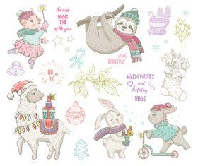 Christmas illustrations cute animals vector