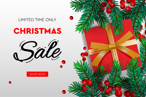 Christmas limited time sale flyer vector