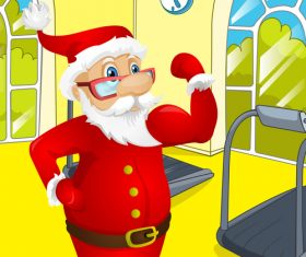 Christmas old man fitness vector